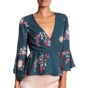 June & Hudson Green Floral True Wrap Top Blouse